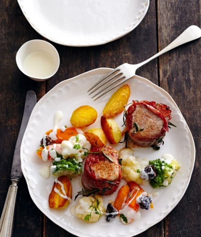 Chef Walter's recipe for Pork tenderloin with vegetables and lemon béchamel